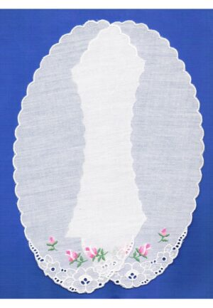 Col blanc 34cm, dentelle broderie Anglaise, 100% coton, col claudine avec roses brodé