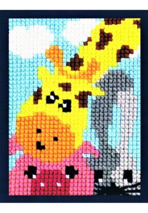 Kit Canevas ENFANT 18x24cm 'La girafe' gros trou débutant, soudan, point de croix