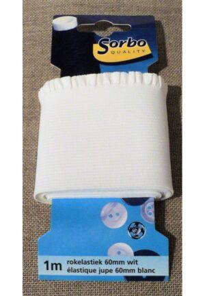 Elastique 60mm bord côte blanc avec fronce pour jupe et pantalon