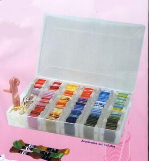 Boîte de rangement plastique 17 compartiments pour les fils à broder, 50 Bobines en carton inclus