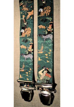 Bretelles hommes fantaisie Grande Taille, 120 cm, à pinces clips XL- XXL, vert chasse, le chasseur, les chiens, le sanglier