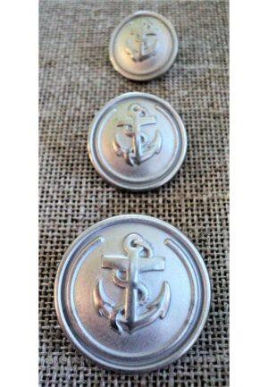 Bouton Caban Marin argenté avec ancre 15/18/23mm METAL, bouton à queue