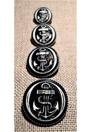 Bouton ancre noir 15/18/20/23mm caban marin, bouton à queue, bouton corsaire