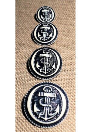 Bouton ancre MARINE 15/18/20/23mm caban marin, bouton à queue, bouton corsaire
