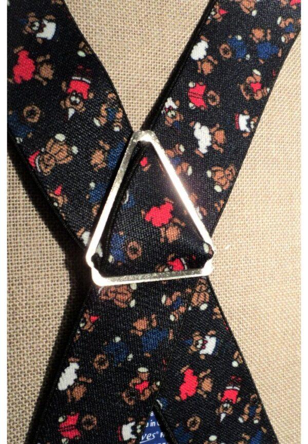 Bretelles hommes fantaisie Grande Taille, 120 cm, à pinces clips XL- XXL, noir avec des ours de Noël, rouge, blanc