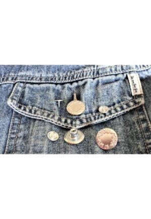 Bouton Jeans 17mm argenté, facile à poser, bouton jeans pression étoile, bouton salopette
