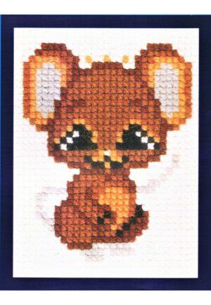 Kit Canevas ENFANT 18x24cm 'La souris' gros trou débutant, soudan, point de croix