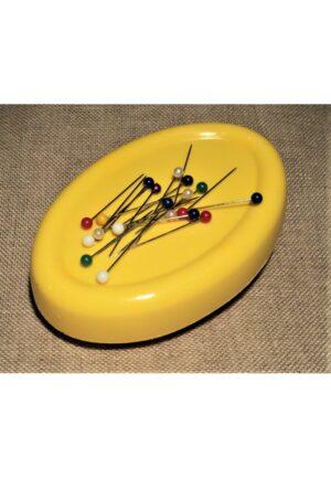porte épingles aimanté jaune, porte épingles magnétique 11 x 7.5 cm, coussin de ramassage