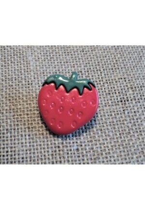 Bouton fraise 16mm rouge vert, Petit bouton enfant