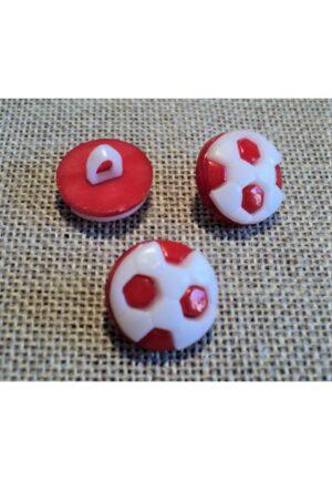 Bouton enfant ballon de foot, 13mm, blanc rouge