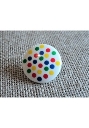 Bouton blanc à pois multi couleurs 16mm, Bouton blanc à pois rouge, jaune, bleu ciel, vert