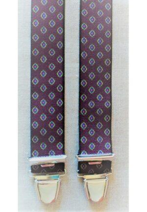 Bretelles hommes fantaisie Grande Taille, 120 cm, à pinces clips XL- XXL, bordeaux avec motif carré en ocre, bleu ciel et rouge