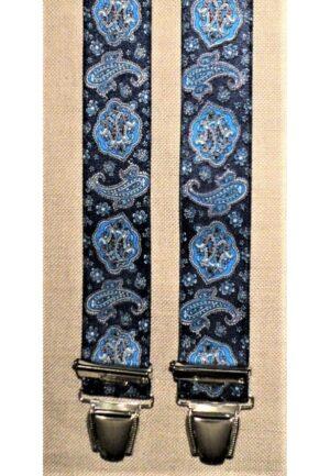 Bretelles hommes fantaisie Grande Taille, 120 cm, à pinces clips XL- XXL, marine avec cachemire motif en ocre et turquoise