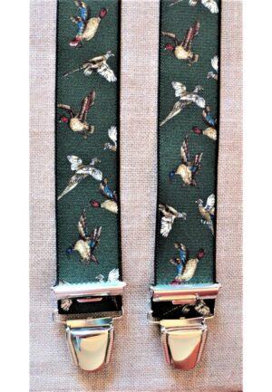 Bretelles hommes fantaisie Grande Taille, 120 cm, à pinces clips XL- XXL, Chasse dessin, les canards, vert chasse