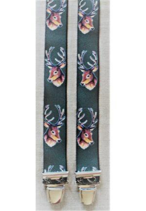 Bretelles hommes fantaisie Grande Taille, 120 cm, à pinces clips XL- XXL, Chasse dessin, les cerfs, vert chasse