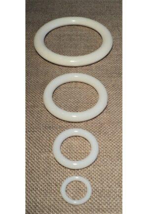 Anneau blanc 10mm - 15mm - 27mm - 45mm plastique pour les rideaux, crocheter, les décorations, store romain, couture et loisir