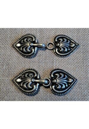 Agrafe cape métal 20mm, argenté mat, fermoir gilet, veste, norvégienne médiéval, gotique