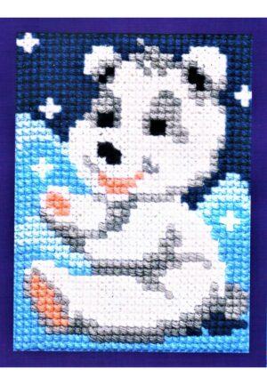 """Kit Canevas ENFANT 18x24cm 'L'ours polaire"""" gros trou débutant, soudan, point de croix"""