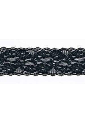 Dentelle ELASTIQUE noir 65mm, dentelle lycra noir, dentelle extensible au mètre, couture, floral, mariage