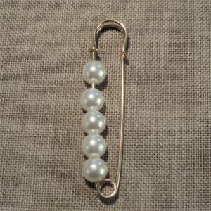 Epingle Kilt avec perles, métal doré 65mm, fermoir gilet, veste, attache gilet, veste sans coudre