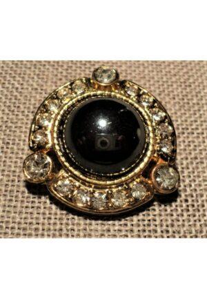 Bouton bijou 28mm métal strass doré haut couture