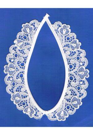 Col en dentelle guipure, blanc, 40 cm, collier dentelle à coudre, col claudine femme