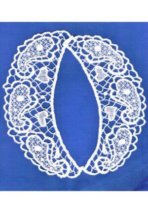 Col en dentelle guipure, blanc, 40 cm, collier dentelle à coudre, col claudine femme, avec coeurs et motif cachemire