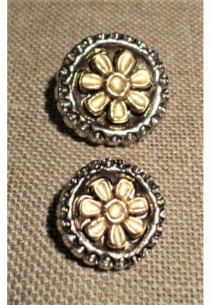 Bouton argenté et doré 20mm/24mm avec fleur pour gilet, veste, jupe, robe etc