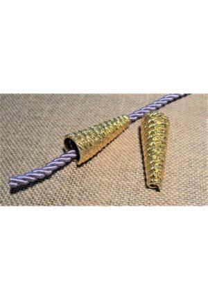 Embout cordon métal doré 30mm, embouts de cordelette métal décoratif