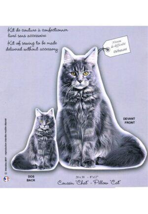Coussin Chat tigré gris. Kit de COUTURE à confectionner, niveau débutant