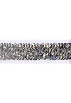 Ruban Sequins 40mm stretch, argenté paillettes galon élastique