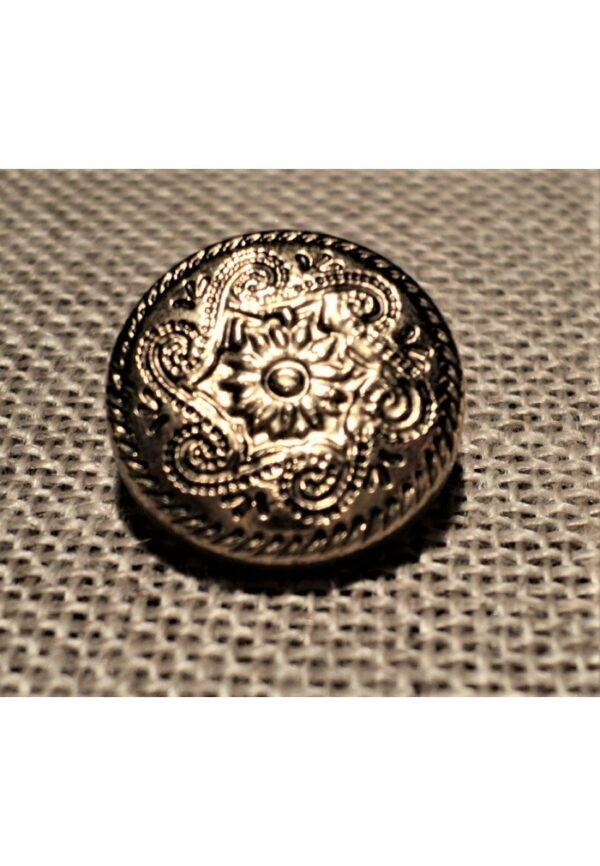 Bouton doré 15mm avec fleur folklorique pour gilet, veste, jupe, robe etc