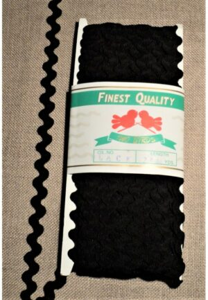 Ruban croquet noir 6mm, serpentine, zig zag vendu au mètre 0,40€