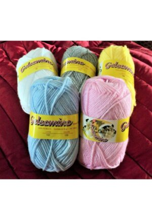 Laine à tricoter 5x50g, lot de 5 couleurs, blanc, rose clair,gris clair,bleu clair et jaune clair