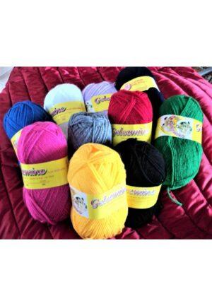 Laine à tricoter 10x50g, lot de 10 couleurs, blanc, fuchsia, noir, marine, rouge, gris, jaune vif, vert, bleu ciel, mauve