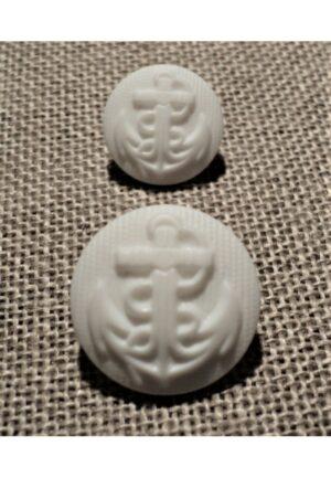 Bouton ancre Blanc 13mm/17mm caban marin, bouton à queue, bouton demi boule corsaire bombé