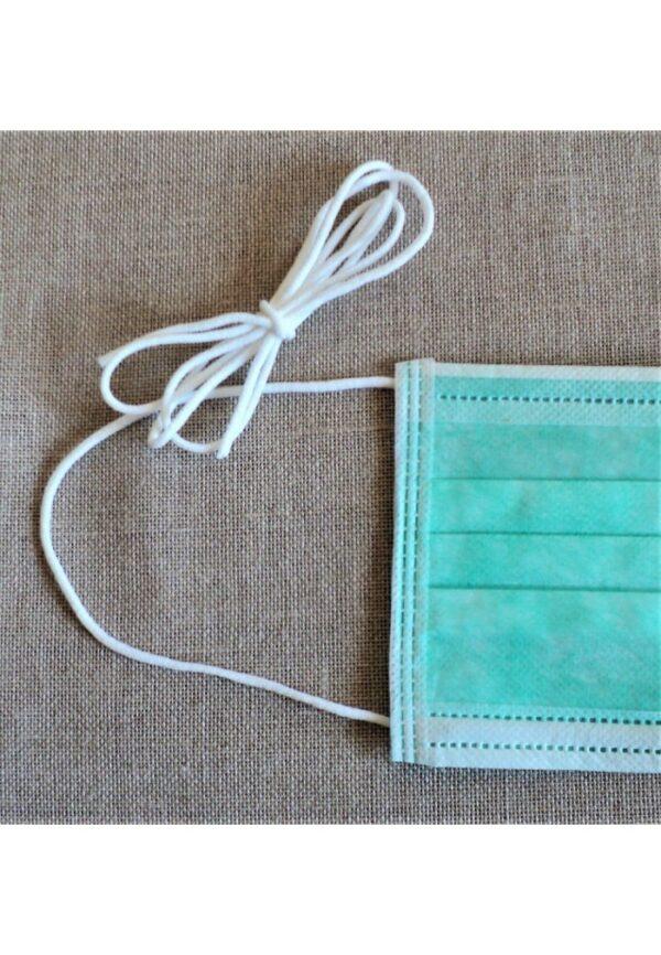 Ruban MASQUE cordon 2.5mm Blanc, élastique par 10 mètres, très doux pour la peau