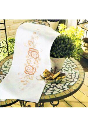 Chemin de table 30x70 cm, kit complet, broderie au point de tige, les fleurs, nappe blanc pré-imprimé
