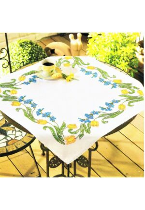 Surnappe à broder 60x60cm, kit complet, broderie au point de croix et tige, les tulips, nappe blanc pré-imprimé