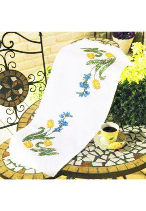 Chemin de table 30x70 cm, kit complet, broderie au point de croix et tige, les tulips, nappe blanc pré-imprimé