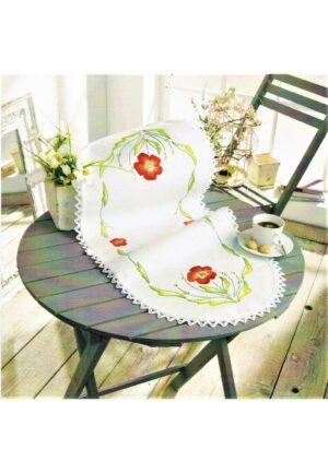 Chemin de table 32x73 cm, kit complet, broderie au point de croix et tige, les coquelicots, nappe blanc pré-imprimé