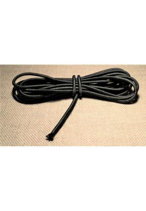 Elastique à chapeau 3mm Noir, élastique cordon rond noir 2 mètre