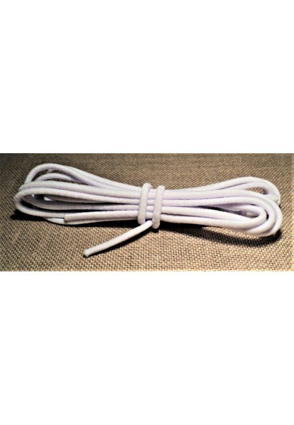 Elastique à chapeau 3mm Blanc, élastique cordon rond blanc 2 mètre