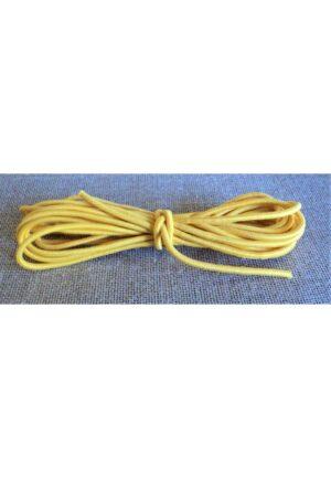Elastique à chapeau 3mm Jaune, élastique cordon rond jaune 2.5 mètre
