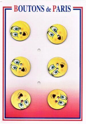 Bouton amusant 24mm (6pcs) jaune, bouton 2-trous