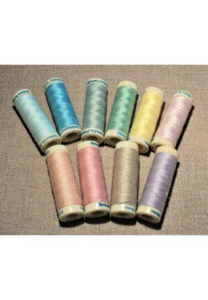 Fil à coudre 10x100 mètres, tout tissu, SET couleurs printanières, 100% polyester