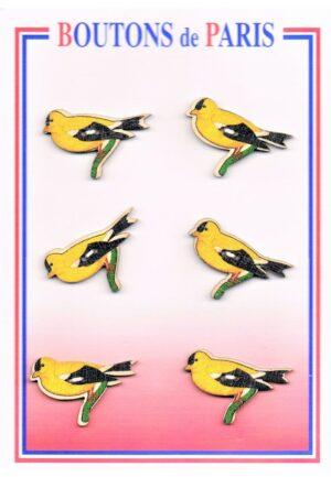 Bouton les oiseaux 35mm (6pcs), bouton 2-trous, boutons décoratifs, les oiseaux jaunes