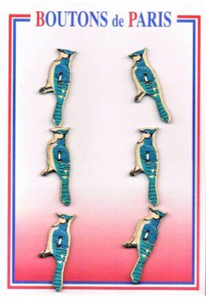Bouton les oiseaux 13mm (6pcs), bouton 2-trous, boutons décoratifs, les oiseaux turquoise