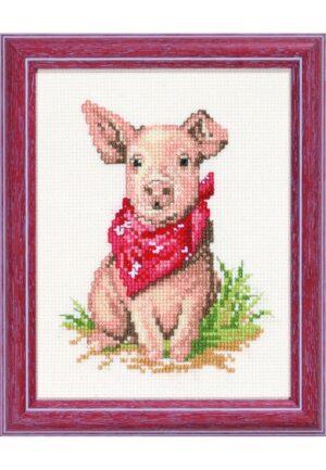 """Kit au point de croix 13x17cm """"Le cochon"""", Aïda, au point compté"""