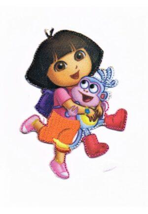 Ecusson Dora et babouche le singe, Thermocollant 6.5 cm x 8 cm